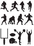 Het teamsilhouetten van de voetbal. Stock Foto