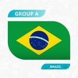 Het teamvlag van Brazilië, in de stijl die van de voetbalconcurrentie wordt gemaakt royalty-vrije illustratie