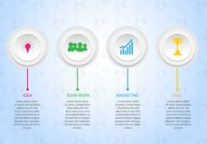 Het teamwerk aan doel bedrijfsinfographicsmalplaatje, banner, brochure en andere stock illustratie