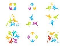 Het teamwerk, embleem, onderwijs, mensen, viering, partnersymbool, groepspictogram Stock Foto's
