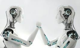 Het teamwerk van robot het androïde mensen royalty-vrije illustratie