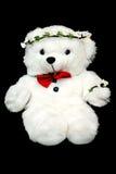 Het Teddystuk speelgoed draagt op zwarte achtergrond Leuk dier Aanwezig kind Royalty-vrije Stock Fotografie