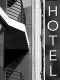 Het teken b&w van het hotel Stock Fotografie