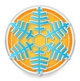 Het teken blauwe kleur van de sneeuwvlok op het wit Royalty-vrije Stock Afbeeldingen