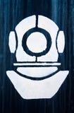 Het teken, een symbool van industriële duiker Stock Foto