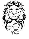 Het teken Ek Onkar is het meest significante die symbool van Sikhism, met een Leeuw wordt verfraaid vector illustratie