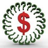 Het teken en de vraagtekens van de dollar Stock Foto's