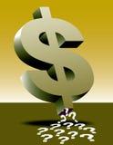 Het teken en de vraagtekens van de dollar Stock Afbeeldingen