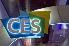 Het teken heet Bezoekers in 2019 CES welkom stock fotografie