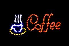 Het teken het LEIDENE van de koffiewinkel licht van Bokeh op donkere achtergrond, het teken Lichte signage van de Koffiewinkel bo Stock Foto