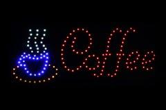 Het teken het LEIDENE van de koffiewinkel licht van Bokeh op donkere achtergrond, het teken Lichte signage van de Koffiewinkel bo Stock Fotografie