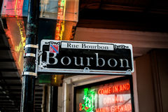 Het Teken New Orleans van de bourbonstraat Royalty-vrije Stock Afbeeldingen