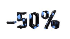 Het teken -50off Gemaakt van blauw en zwart metaal isoleer op witte achtergrond 3D Illustratie royalty-vrije illustratie