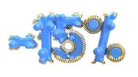 Het teken -15off Gemaakt van blauw plastiek met gouden elementen of isoleer op witte achtergrond 3D Illustratie vector illustratie