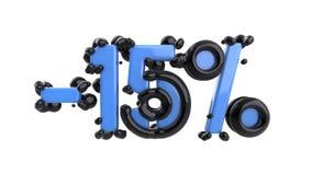 Het teken -15off Gemaakt van blauwe glanzende kunststof met zwarte delen isoleer op witte achtergrond 3D Illustratie stock illustratie
