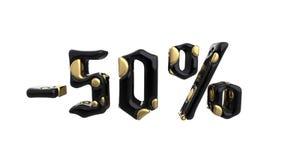 Het teken -50off Gemaakt van gouden en zwart metaal isoleer op witte achtergrond 3D Illustratie stock illustratie