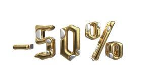 Het teken -50off Gemaakt van gouden metaal en witte zilveren delen isoleer op witte achtergrond Conceptuele verkoop en reclame vector illustratie