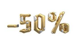 Het teken -50off Gemaakt van gouden metaal en witte zilveren delen isoleer op witte achtergrond Conceptuele verkoop en reclame royalty-vrije illustratie