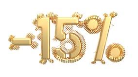 Het teken -15off Gemaakt van gouden metaal isoleer op witte achtergrond 3D Illustratie stock illustratie