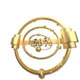 Het teken -50off Gemaakt van gouden metaal isoleer op witte achtergrond 3D Illustratie royalty-vrije illustratie