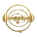 Het teken -50off Gemaakt van gouden metaal isoleer op witte achtergrond 3D Illustratie vector illustratie