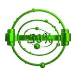 Het teken -50off Gemaakt van groen metaal isoleer op witte achtergrond 3D Illustratie stock illustratie