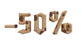 Het teken -50off Gemaakt van hout isoleer op witte achtergrond 3D Illustratie royalty-vrije illustratie