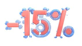 Het teken -15off Gemaakt van in roze glanzend materiaal met blauwe plastic delen isoleer op witte achtergrond 3D Illustratie vector illustratie