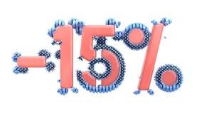 Het teken -15off Gemaakt van in roze glanzend materiaal met blauwe plastic delen isoleer op witte achtergrond 3D Illustratie royalty-vrije illustratie