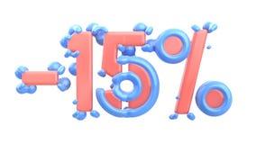 Het teken -15off Gemaakt van in roze glanzend materiaal met blauwe plastic delen isoleer op witte achtergrond 3D Illustratie stock illustratie