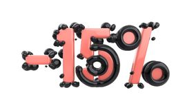 Het teken -15off Gemaakt van in roze glanzend materiaal met zwarte plastic delen isoleer op witte achtergrond 3d stock illustratie