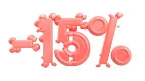 Het teken -15off Gemaakt van in roze materiaal isoleer op witte achtergrond 3D Illustratie royalty-vrije illustratie