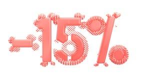 Het teken -15off Gemaakt van in roze materiaal isoleer op witte achtergrond 3D Illustratie stock illustratie