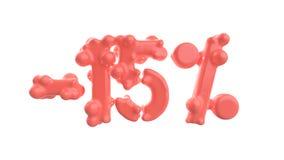 Het teken -15off Gemaakt van in roze materiaal isoleer op witte achtergrond 3D Illustratie vector illustratie