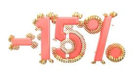 Het teken -15off Gemaakt van in roze materiaal met kostbare gouden delen isoleer op witte achtergrond 3D Illustratie vector illustratie