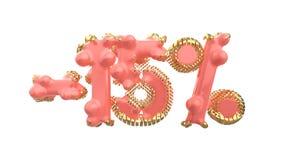 Het teken -15off Gemaakt van in roze materiaal met kostbare gouden delen isoleer op witte achtergrond 3D Illustratie royalty-vrije illustratie