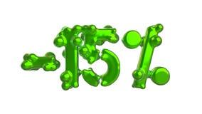 Het teken -15off Gemaakt van in vers groen glanzend metaalmateriaal isoleer op witte achtergrond 3D Illustratie vector illustratie