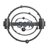 Het teken -50off Gemaakt van zwart glanzend metaal met blauwe punten isoleer op witte achtergrond 3D Illustratie vector illustratie