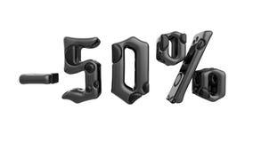 Het teken -50off Gemaakt van zwart metaal isoleer op witte achtergrond 3D Illustratie vector illustratie
