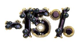 Het teken -15off Gemaakt van zwart plastiek of metaal en kostbare gouden details isoleer op witte achtergrond 3D Illustratie vector illustratie