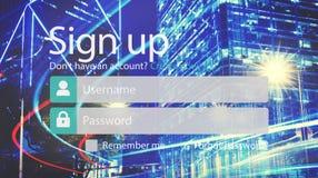 Het teken op Lid sluit zich aan Registratie bij Rekening voorlegt Concept Stock Fotografie