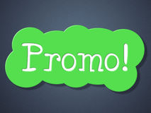 Het teken Promo betekent Kortingenvertoning en Kleinhandel Royalty-vrije Stock Foto