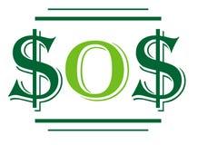 Het teken-S.O.S. van de dollar Royalty-vrije Stock Foto's