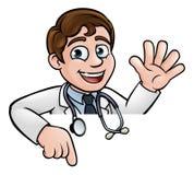 Het Teken van artsencartoon character above het Richten Stock Fotografie