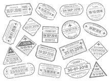 Het teken van het bedrijfsluchthavencachet en de controlezegel van douanepaspoorten Buitenlandse reis en immigratiepaspoortambten vector illustratie