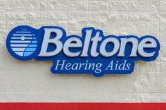 Het teken van Beltonehoorapparaten stock foto