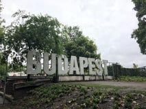 Het Teken van Boedapest in Margaretha-park Boedapest royalty-vrije stock afbeeldingen