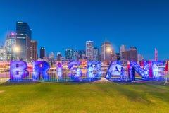 Het teken van Brisbane voor G20 Culturele Vieringen bij Zuidenbank Stock Foto