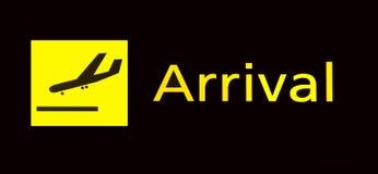 Het teken van de aankomst bij luchthaven Stock Foto