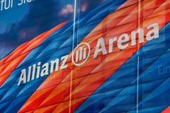 Het teken van de Allianzarena Stock Foto